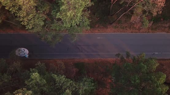 The Drone Takes Off Over a Forest Road with a Bicycle Path with a Speed Limit of 20 Km