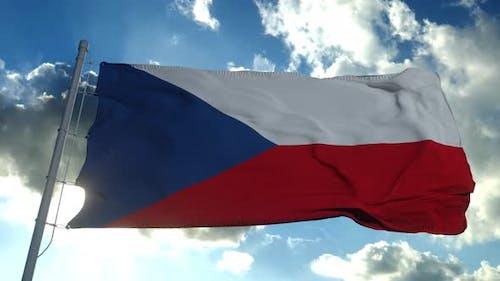 Czech Republic Flag Waving in the Wind Blue Sky Background
