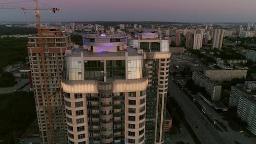 Aerial View of Skyscrapers in evening city at sunset 27