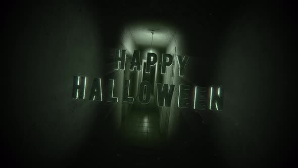 Thumbnail for Animation text Happy Halloween on mystical horror background with dark hall of room