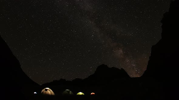 Thumbnail for Time Lapse of Starry Sky in the Mountains. Camp Climbers Under the Starry Sky.