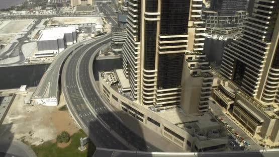 Stunning Aerial Footage of Dubai with Wide Roads and Massive Skyscrapers