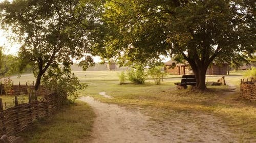 Rural Wooden Bench in the Village