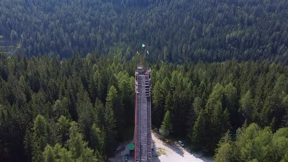 Aerial View of Italian Olympic Ski Jump Built in Cortina dAmpezzo for Winter Olympics in 1956