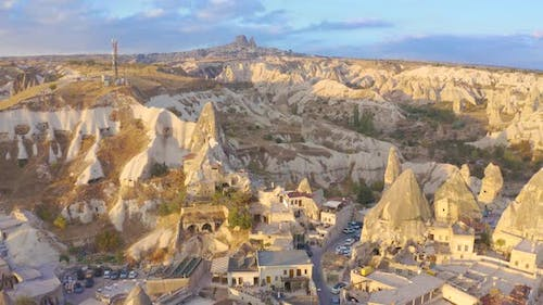 Goreme city inside the rocks, the old city of stone pillars and caves