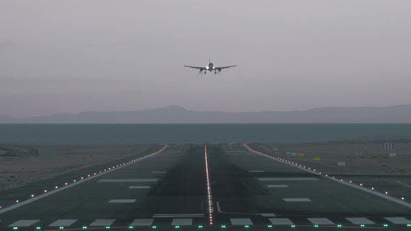 Thumbnail for Evening Arrival of Passenger Airplane