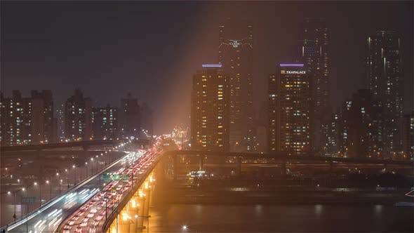 Thumbnail for Seoul, Korea, The traffic over the Cheongdam Bridge in Seoul at Night