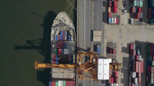 Thumbnail for Logistic Concept Aerial Shot Above Commercial Dockyard