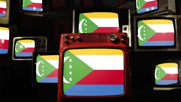 Flag of the Comoros and Retro TVs.