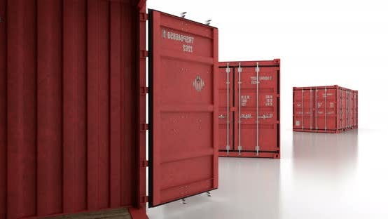 Thumbnail for Seamless Move Thru Shipping Containers with Doors Opening on White Background
