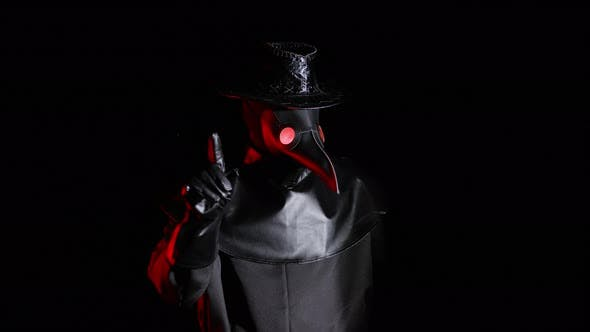 Thumbnail for Plague Doctor with Crow-like Mask Disapproving with No Finger Sign, Make Negation Gesture. Denying