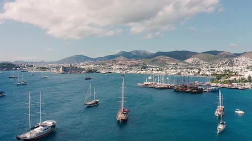 Amazing Drone Shots Sailing Boats and Yatchs at Sunny Summer Day in Bodrum Turkey