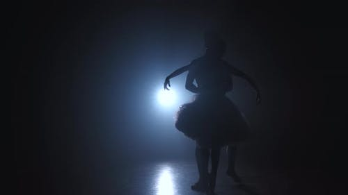 Silhouette of Young Man Practicing in Classical Ballet Pirouette with Ballerina