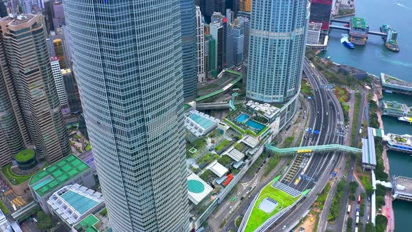 Thumbnail for Aerial View Road Traffic and Hong Kong Central Financial District Skyscrapers in Hong Kong, China.