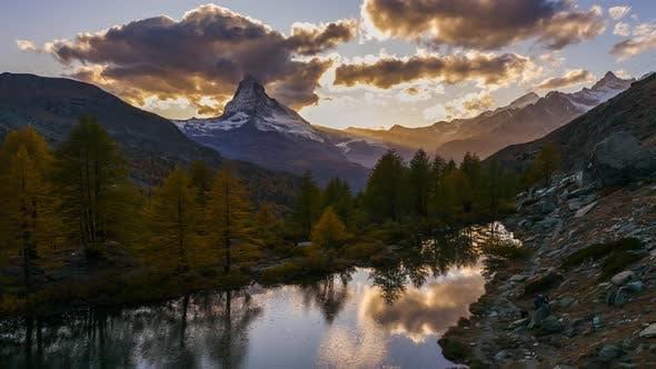 Thumbnail for Matterhorn Peak Reflected in Grindjisee Lake in Zermatt, Switzerland