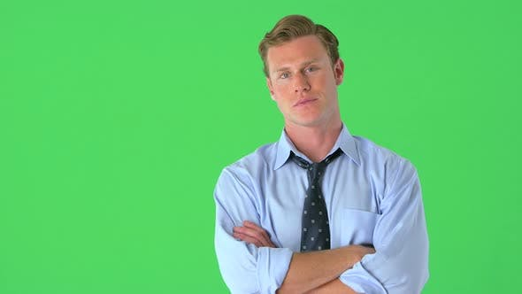 Cover Image for confident businessman on greenscreen
