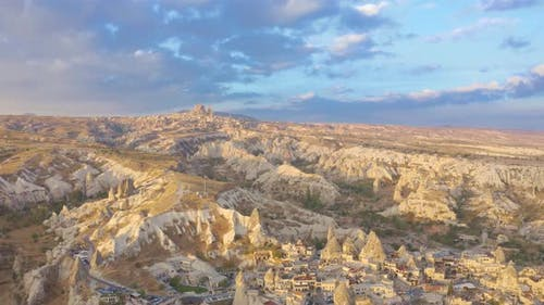 Aerial drone view panorama of Goreme valley, Cappadocia, Turkey