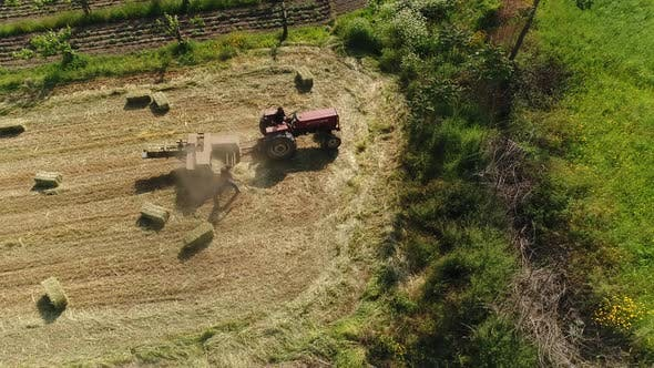 Thumbnail for Aerial View of Tractor Working on Agriculture Field