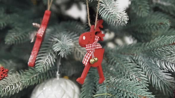 Thumbnail for Funny Red Deer toy Decorates the Christmas Tree with Silver Shade