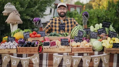 The Farmer Offers To Buy Eggplants at the Farmers Market