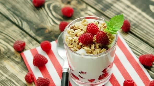 Thumbnail for Served Yogurt with Raspberry on Napkin
