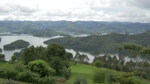 Panoramic view of Lake Bunyonyi, Uganda