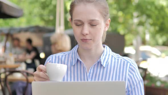 Thumbnail for Woman Using Laptop and Drinking Coffee Cafe Terrace