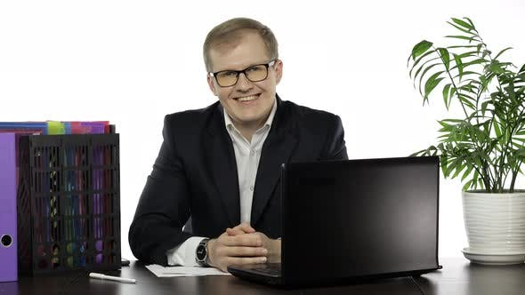 Thumbnail for Businessman Director in Office Leaning on Table Looking at Camera Confident
