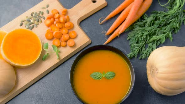 Thumbnail for Close Up of Vegetable Pumpkin Cream Soup in Bowl