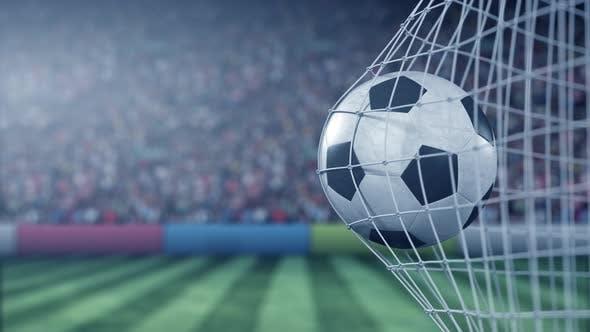 Football Ball Hits Goal Net