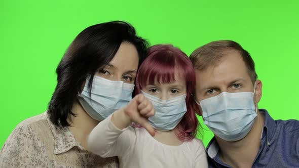 Thumbnail for Sick Family Mother, Father and Daughter in Medical Mask. Coronavirus Concept