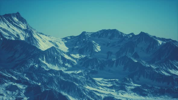 Thumbnail for Aerial View of the Alps Mountains in Snow
