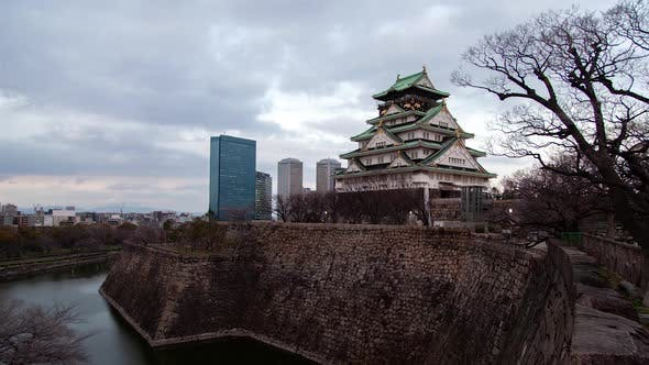 Osaka Castle with Defence Wall at Sunset Timelapse