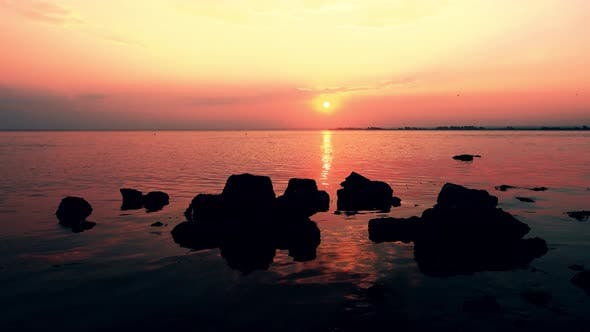 Thumbnail for 4K seascape at sunset background