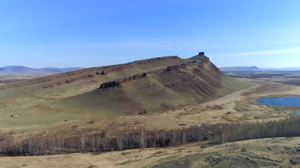 Aerial View Of Mountain Landscape And Steppe