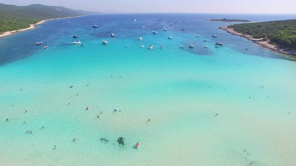 Thumbnail for Aerial view of a white sandy shore on the island of Dugi otok, Croatia