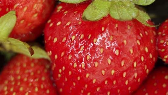 Thumbnail for Fresh Strawberries, Rotating Slowly. Macro Close Up.