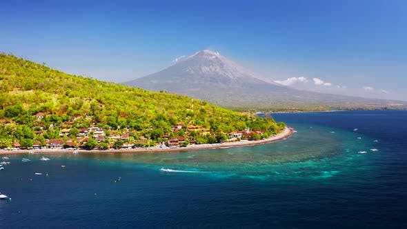 Thumbnail for Tropical Mountains Landscape with Boats and Turquoise Sea Water on Jemeluk Bay, Amed, Bali