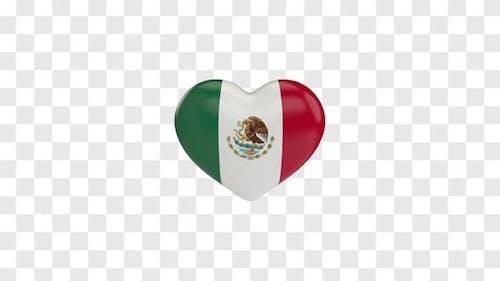Mexico Flag on a Rotating 3D Heart