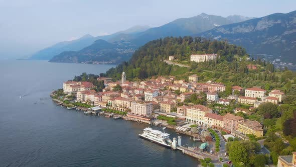 Aerial View. In the Frame Is the Famous Italian City of Bellagio