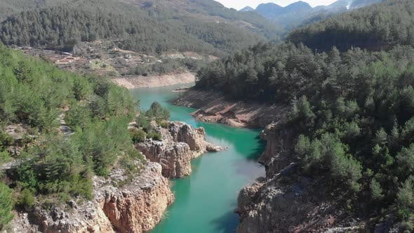 Dam in mountains, Green alternative renewable energy, Electric power technology