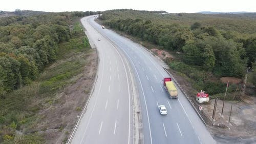 Aerial View Highway Traffic