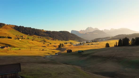 Thumbnail for Autumn Morning and Bright Misty Sunrise in the Valley of Compaccio. Province of Bolzano, Italian Alps
