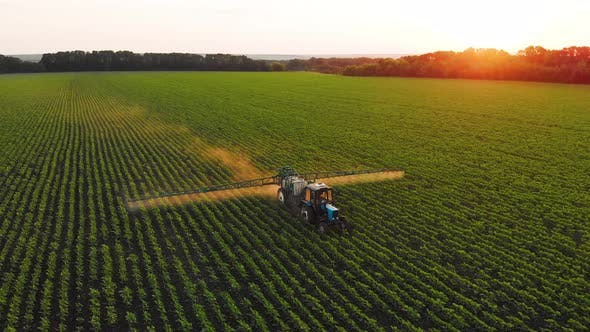 Aerial View of Farming Tractor Spraying on Field with Sprayer Herbicides and Pesticides at Sunset