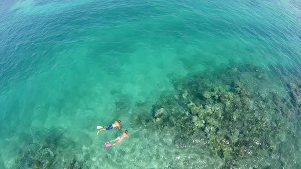 Thumbnail for Aerial view of a man and woman couple snorkeling over a coral reef of a tropical island.