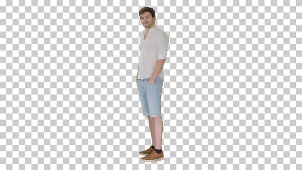 Casual young man looking at camera and, Alpha Channel