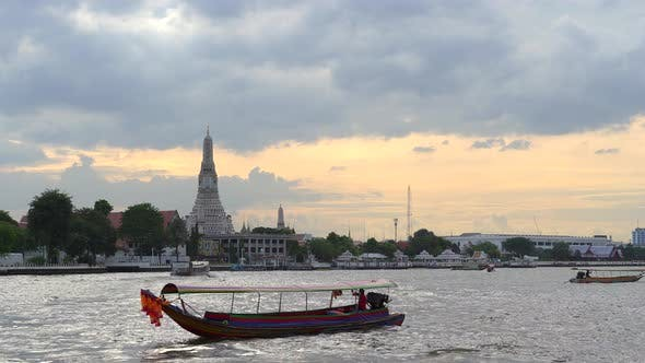 Thumbnail for Thai Long-Tail Wooden Boat with Traditional Flowers and Auto Engine
