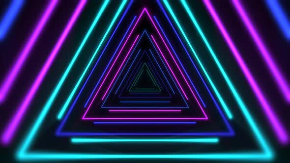 Colorful neon triangles on abstract background