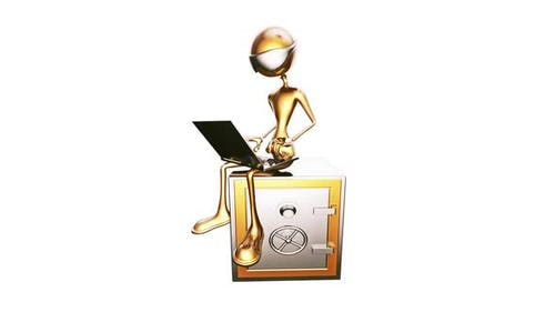 3D Gold Man Businessman  Looped on White