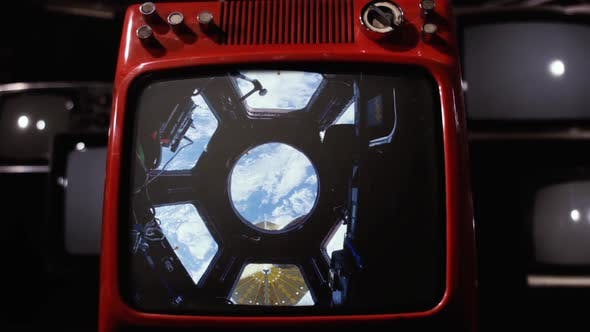 Thumbnail for View of Earth from the ISS on a Retro TV Set.